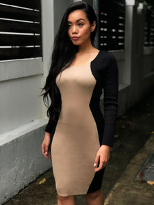 Nude Panelled Bodycon Dress