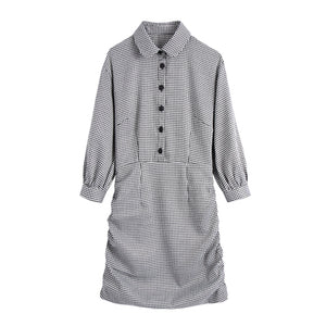Plaid Fitted Shirt-Dress