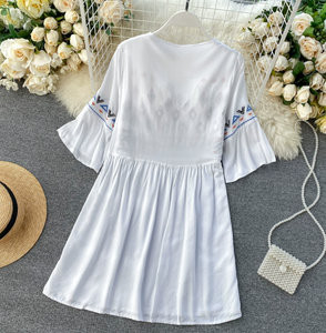Embroidered Babydoll Shift Dress
