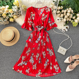 Pleated Floral Midi Dress