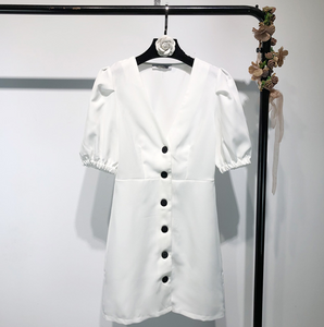 Puff-Sleeved Breasted Shift Dress