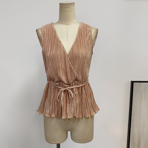 Bronzy Pleated Sleeveless Top