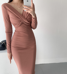 Knotted-Front Midi Bodycon Dress