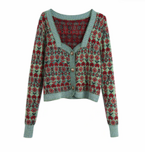 Square-Collared Knit Cardigan