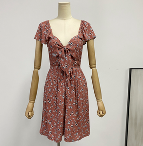 Sweetheart-Neck Ribbon-Tie Dress