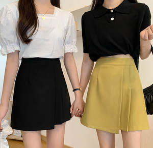 Asymmetrical Pleat High-Waisted Skirt