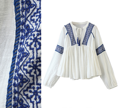 Intricate-Embroidery Tassel Top [Premium]