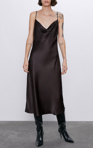 Cowl Satin Sling Midi Dress