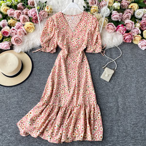 Floral Ribbon-Sleeved Midi