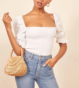 Square-Neck Puff-Sleeved Top