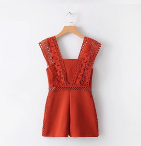 Hollow-Cut Lace Romper