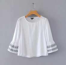 Cuff Embroidered Casual Top