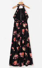 Floral Hollow-Cut Halter Maxi Dress