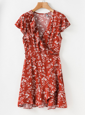 Burnt Orange Floral Wrap Dress