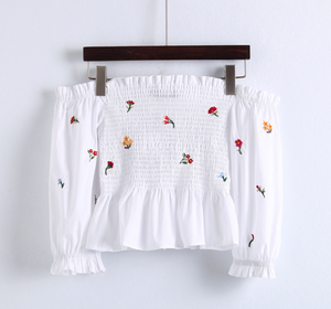 Smocked Floral Embroidery Crop
