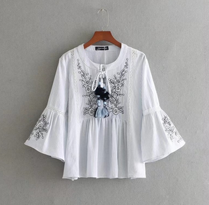 Lace Panelled Embroidered Tassel Top [Premium]