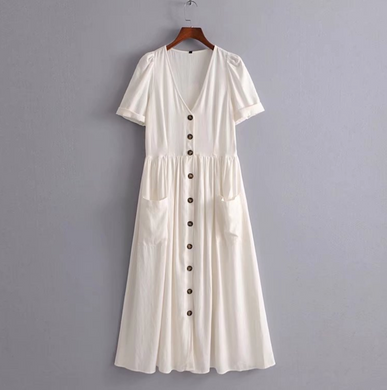 Buttoned Linen Midi Dress