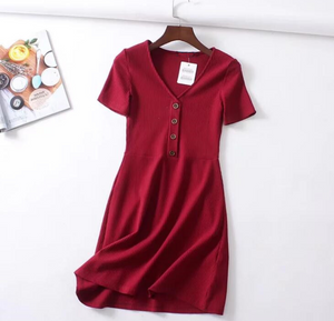 Buttoned Basic Knitted Dress [BACKORDER]