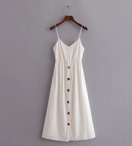 Buttoned Linen Back-Tie Midi Dress