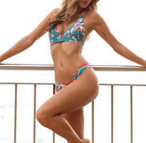 Floral Push-up/Thong Bikini Set