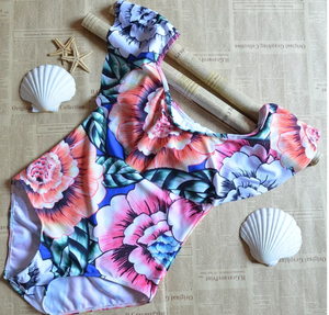 Flutter Off-Shoulder Swimsuit