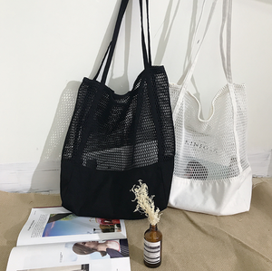 Hollow Mesh Canvas Tote Bag