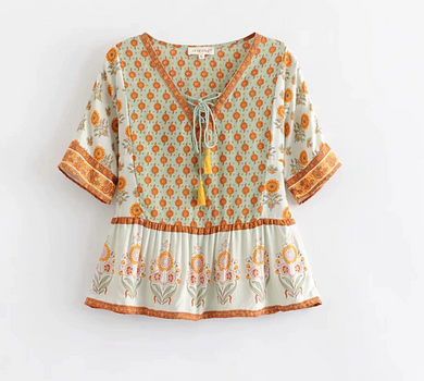 Bohemian Laced-up Tunic Top