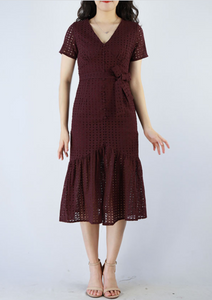 Crochet Waist-Tie Midi Dress