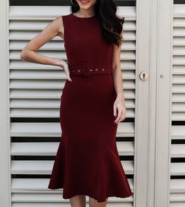Belted Fishtail-Skirt Midi Dress [PREMIUM]