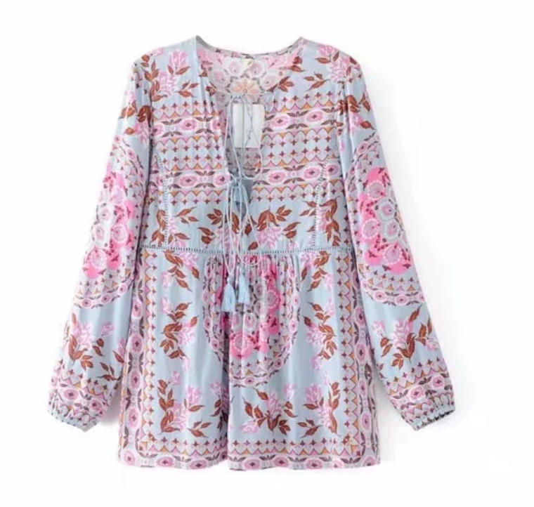 Double-Ribbon Printed Tunic Blouse