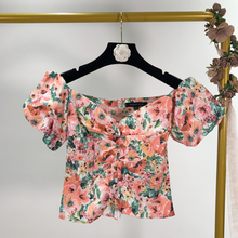 Floral Sweetheart-Neckline Top