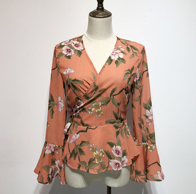 Trumpet-Sleeved Floral Wrap Top