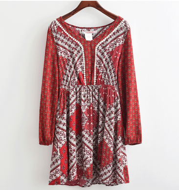Bohemian Printed Shift Dress