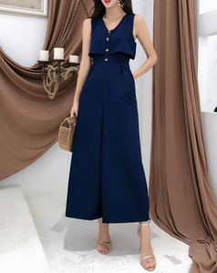 Faux Two-Piece Sleeveless Jumpsuit