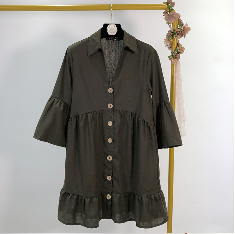 Single-Breasted Buttoned Shift Dress