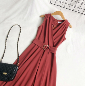 Belted Swing Midi Dress