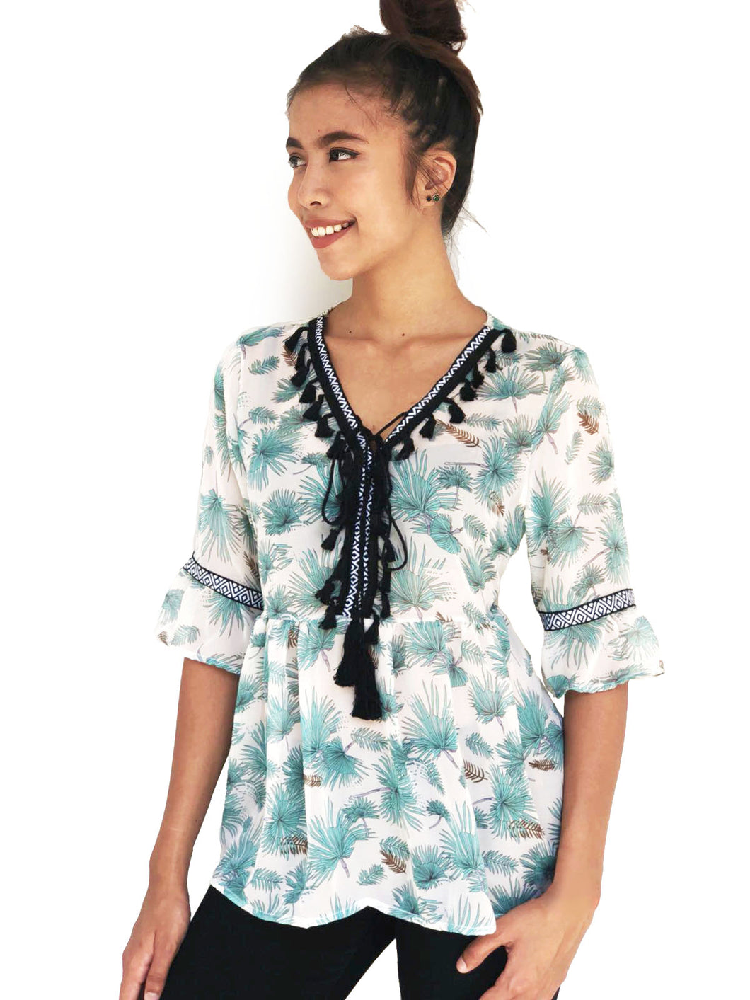Tassel-Bordered Printed Blouse (Green Hawaiian)(BACKORDER)