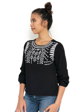 Embroidered U-Back Top