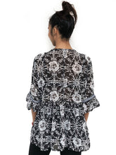 Tassel-Bordered Printed Blouse (Black Floral)(BACKORDER)