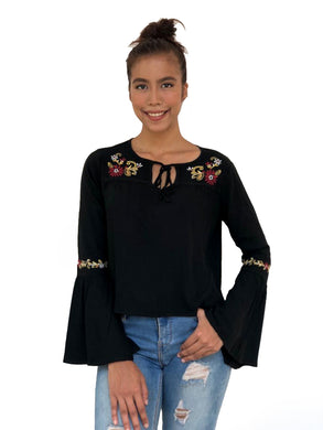 Embroidered Bell Sleeved Top