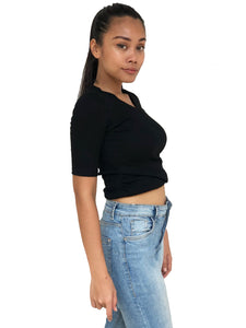Cross-Front Cropped Tee