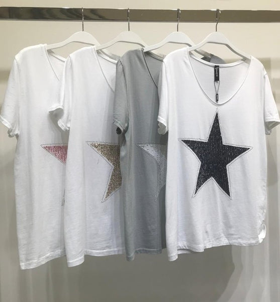 Two Tone Sequin Star Short Sleeve Tee
