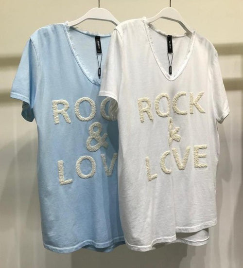 Fuzzy Rock and Love Print V-neck Tee