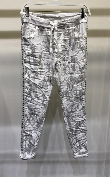 Distressed Camouflage Crinkle Joggers