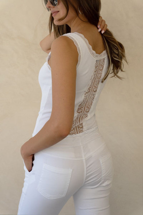 Lace Trim Ribbed Tank Top