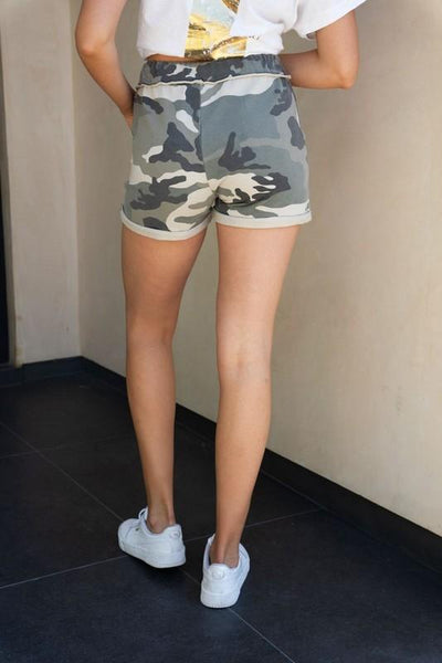 Camouflage Shorts with Cuffed Hem