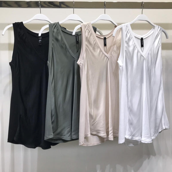 Sleeveless Silk Viscose V-neck Tee