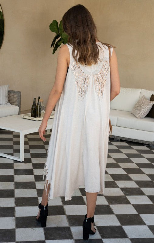 Sequin Wings Sleeveless Flowy Cardigan