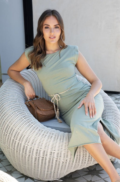 Maxi Dress with Braided Belt