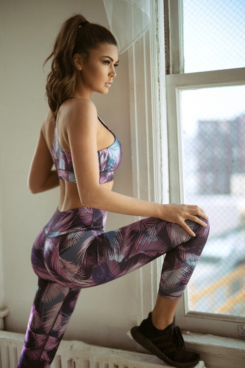 Women's High-Rise Feather Print Leggings and Top